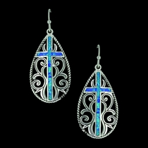 Filigree Water Lights Cross Earrings (ER3555)