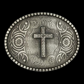 Floral Cross Classic Antiqued Attitude Belt Buckle (61013)