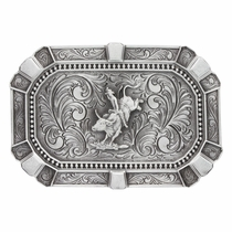 Flourished Rectangular Classic Attitude Buckle with Bullrider (A488RTS)