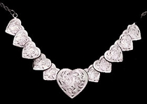 Fully Engraved Silver Heart Necklace