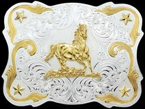 Galloping Horse Belt Buckle by Montana Silversmiths