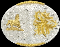Galloping Horse Buckle 3 by Montana Silversmiths