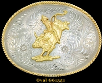 German Silver Bull Rider Buckles by Montana Silversmiths