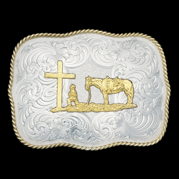 German Silver Christian Cowboy Western Belt Buckle (G868-731)