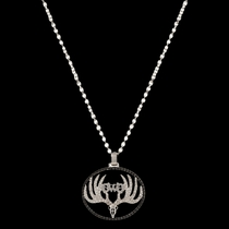 Girls With Guns® Sparkling Antlered Skull Necklace (NC2788GWG)