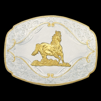 Gold Flourish Western Belt Buckle with Galloping Horse (2920-463)