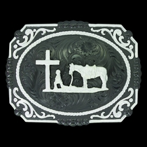 Gunmetal Cameo Filigree with Christian Cowboy Buckle  (25815SB-731)