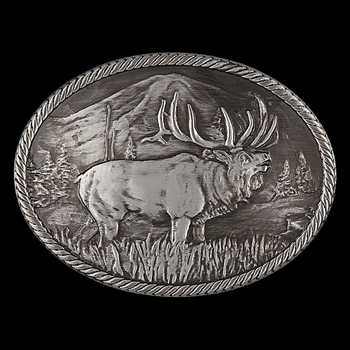 Gunmetal Outdoor Series Wild Elk Carved Buckle (25610EMA)