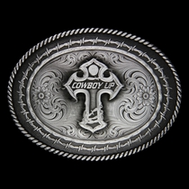 Gunmetal Rope and Barbed Wire Buckle with Cowboy Up? Cross (6139MA-101014)