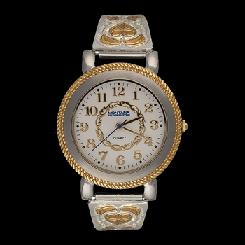 Hearts of Gold Large Face Ladies Expansion Band Watch (WCH127)