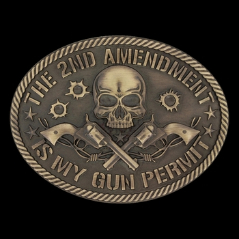 Heritage 2nd Amendment Gun Permit Attitude Buckle (A631)