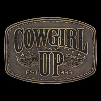 Heritage Cowgirl Up Wings Attitude Buckle (A581)
