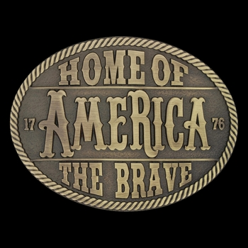 Heritage Home of the Brave Attitude Buckle (A629C)