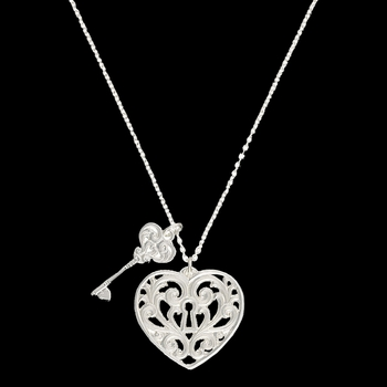Holding the Key to My Heart Double Charm Necklace  (NC2421D)
