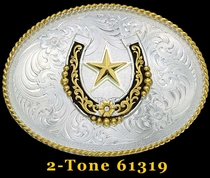 Horseshoe & Star Belt Buckle by Montana Silversmiths