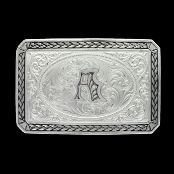 Initial A Antiqued Wheat Trim Portrait Buckle (27200D-A)