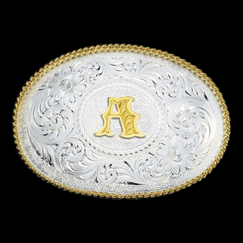 Initial A Silver Engraved Gold Trim Western Belt Buckle (700A)