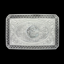 Initial C Antiqued Wheat Trim Portrait Buckle (27200D-C)