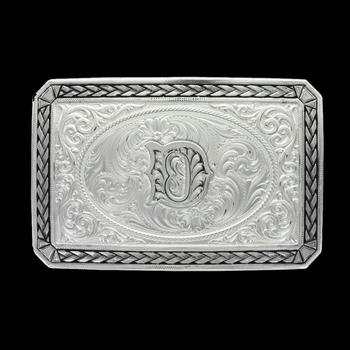 Initial D Antiqued Wheat Trim Portrait Buckle (27200D-D)