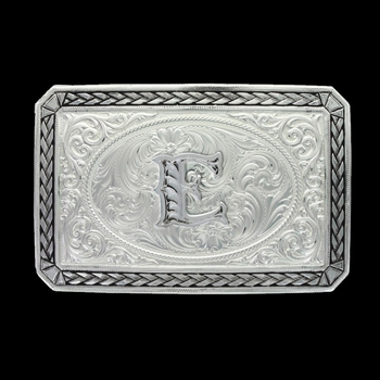 Initial E Antiqued Wheat Trim Portrait Buckle (27200D-E)