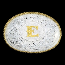 Initial E Silver Engraved Gold Trim Western Belt Buckle (700E)