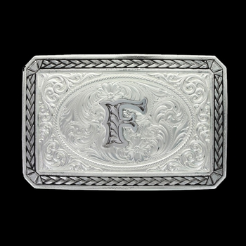 Initial F Antiqued Wheat Trim Portrait Buckle (27200D-F)