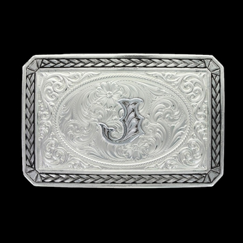 Initial J Antiqued Wheat Trim Portrait Buckle (27200D-J)