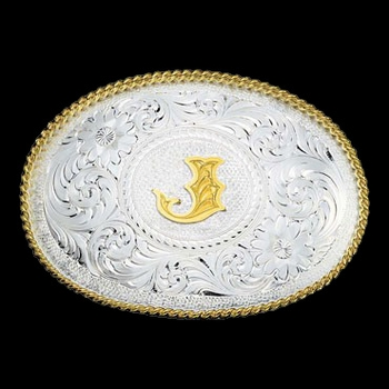 Initial J Silver Engraved Gold Trim Western Belt Buckle (700J)