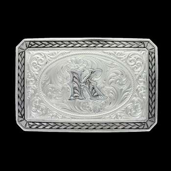 Initial K Antiqued Wheat Trim Portrait Buckle (27200D-K)