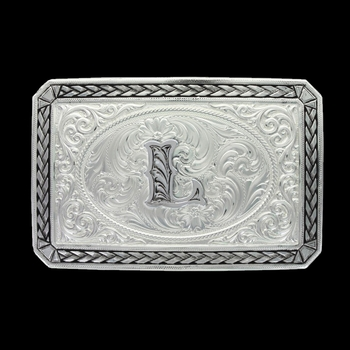 Initial L Antiqued Wheat Trim Portrait Buckle (27200D-L)