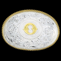 Initial O Silver Engraved Gold Trim Western Belt Buckle (700o)