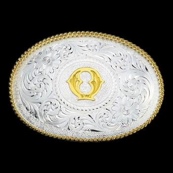 Initial Q Silver Engraved Gold Trim Western Belt Buckle (700Q)