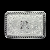 Initial R Antiqued Wheat Trim Portrait Buckle (27200D-R)