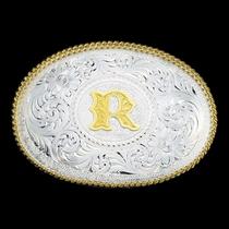 Initial R Silver Engraved Gold Trim Western Belt Buckle (700R)