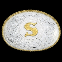 Initial S Silver Engraved Gold Trim Western Belt Buckle (700S)