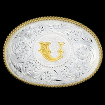 Initial U Silver Engraved Gold Trim Western Belt Buckle (700U)