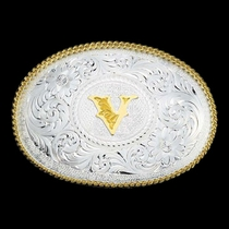 Initial V Silver Engraved Gold Trim Western Belt Buckle (700V)