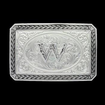 Initial W Antiqued Wheat Trim Portrait Buckle (27200D-W)