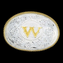 Initial W Silver Engraved Gold Trim Western Belt Buckle (700W)