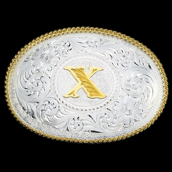 Initial X Silver Engraved Gold Trim Western Belt Buckle (700X)