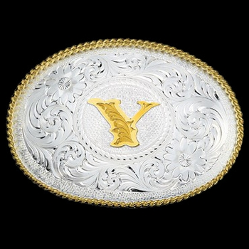 Initial Y Silver Engraved Gold Trim Western Belt Buckle (700Y)