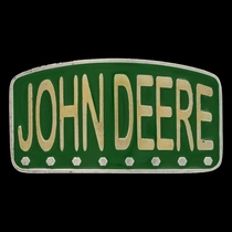 John Deere Painted License Brass Attitude Buckle (A537JDP)