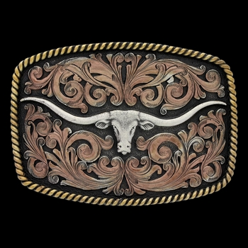 John Wayne Simple Rope Classic Impressions Attitude Buckle with Longhorn Skull (A534T)