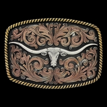 John Wayne Simple Rope Classic Impressions Attitude Buckle with Longhorn Skull (A711)