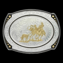 Large Cameo Roped Buckle with Team Roper (31210-508)
