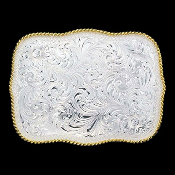 Large Scalloped Silver Engraved Western Belt Buckle (860)