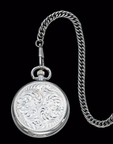 Large Silver Pocket Watch 2 by Montana Silversmiths