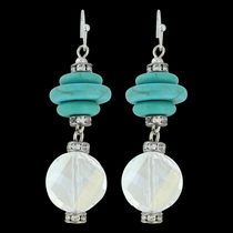 Layer & Iridescent Drop Earrings Attitude Jewelry (AER3469)