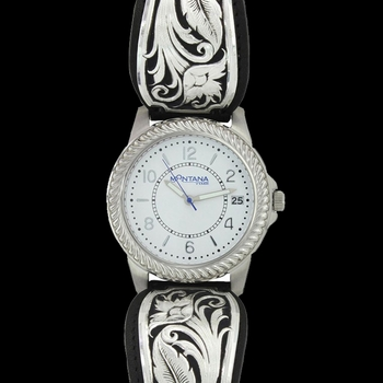 LeatherCut Bowing Floral Dress Watch (WCH3343)