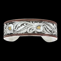 LeatherCut Tri-Colored Floral Cuff Bracelet (BC2598TRI-BK)